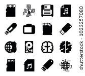 memory icons. set of 16... | Shutterstock .eps vector #1023257080