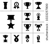 contest icons. set of 13... | Shutterstock .eps vector #1023257800