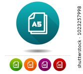 paper size a5 icon. document... | Shutterstock .eps vector #1023257998