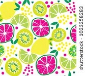 citrus fruits pattern  seamless ... | Shutterstock .eps vector #1023258283