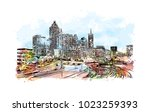 city skyline of atlanta city in ...   Shutterstock .eps vector #1023259393