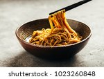 asian noodle dish with... | Shutterstock . vector #1023260848