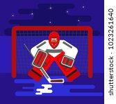 hockey goalkeeper in flat stile ... | Shutterstock .eps vector #1023261640