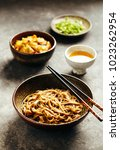 freshly cooked soba noodles in... | Shutterstock . vector #1023262954