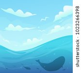summer nature seascape. cloudy... | Shutterstock .eps vector #1023266398
