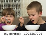 two children boy and girl... | Shutterstock . vector #1023267706