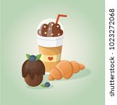 chocolate coffee  croissant and ... | Shutterstock .eps vector #1023272068
