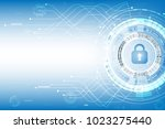 vector cyber security with lock ... | Shutterstock .eps vector #1023275440