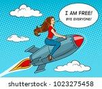 woman fly on rocket pop art... | Shutterstock .eps vector #1023275458