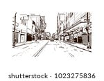 downtown road with building... | Shutterstock .eps vector #1023275836