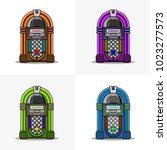 set of retro jukebox flat line... | Shutterstock .eps vector #1023277573