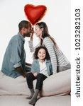 joyous wife and husband looking ... | Shutterstock . vector #1023282103