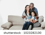 portrait of cheerful family... | Shutterstock . vector #1023282130