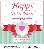 valentine's day for sale. happy ... | Shutterstock .eps vector #1023285520