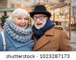 portrait of positive elderly... | Shutterstock . vector #1023287173