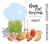 nowruz holiday vector design... | Shutterstock .eps vector #1023287530