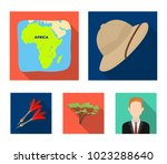 cork hat  darts  savannah tree  ... | Shutterstock .eps vector #1023288640