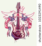rock and roll funky guitar and... | Shutterstock .eps vector #1023291490