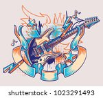 rock and roll funky guitar and...   Shutterstock .eps vector #1023291493
