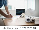close up hand of architect... | Shutterstock . vector #1023296110