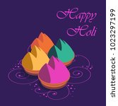 happy holi greeting card  holi... | Shutterstock .eps vector #1023297199
