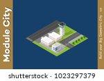 isometric city 3d airport... | Shutterstock .eps vector #1023297379