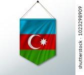 azerbaijan flag ribbon banner... | Shutterstock .eps vector #1023298909