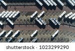 aerial top down photo of bus... | Shutterstock . vector #1023299290