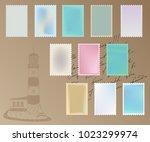 vector set of postage stamps... | Shutterstock .eps vector #1023299974