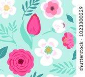 cute seamless hand drawn spring ... | Shutterstock .eps vector #1023300229