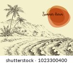 beach and sea sketch side view | Shutterstock .eps vector #1023300400