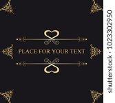 vintage frame with gold... | Shutterstock .eps vector #1023302950