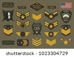military badges and army... | Shutterstock .eps vector #1023304729