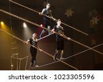 air gymnasts in the circus | Shutterstock . vector #1023305596