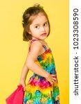 fashion shoot of cute girl... | Shutterstock . vector #1023308590