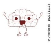 comic brain with tongue out... | Shutterstock .eps vector #1023311116