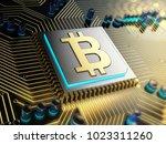 golden bitcoin symbol installed ... | Shutterstock . vector #1023311260