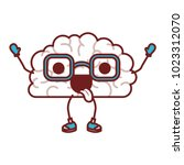 comic brain with tongue out... | Shutterstock .eps vector #1023312070