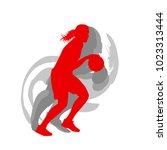 basketball female silhouette...   Shutterstock .eps vector #1023313444