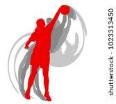 basketball female silhouette... | Shutterstock .eps vector #1023313450