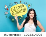 customer acquisition with young ... | Shutterstock . vector #1023314008