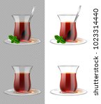 turkish tea cup with black tea  ... | Shutterstock .eps vector #1023314440