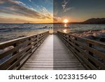 Before and after example of photo editing process, color correction,brightness and saturation  on wooden pier at sunset