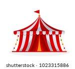 modern circus tent cartoon... | Shutterstock .eps vector #1023315886