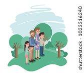 family members in the field | Shutterstock .eps vector #1023316240
