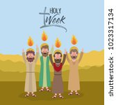 holy week biblical scene | Shutterstock .eps vector #1023317134
