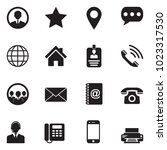 contact icons. black flat... | Shutterstock .eps vector #1023317530