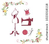 tailor sewing vintage  needle ... | Shutterstock .eps vector #1023318118