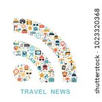 travel icons are grouped in rss ... | Shutterstock .eps vector #1023320368