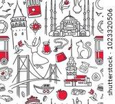 istanbul symbols. hand drawn... | Shutterstock .eps vector #1023320506